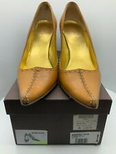 BOXED £220 CELINE TAN COURT SHOES, HIGH HEALED PUMPS, SIZE 38 10CM LGHTLY WORN