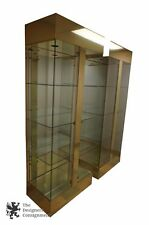2 Mastercraft Style Brass Curio Cabinets Display Glass Mirrored Illuminated