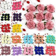 "50Pcs Satin Carnation Ribbon Flower 1.5"" Sewing Appliques DIY Craft Supplies"