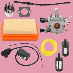 Carburetor Ignition Coil Air Filter kit For Stihl FS120 FS200 FS250 Trimmer USA