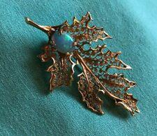 "Ny Opal Abstract Brooch/Pendant Rare Vintage 14K Gold Leaf Hallmarked ""Finelt"""