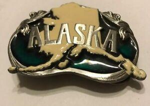 VTG Alaska Belt Buckle 1984 Williams Cast 3 Tone Last Frontier Belt Buckle Z23