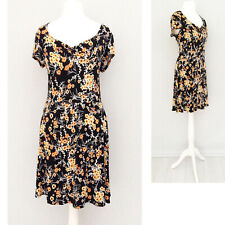 Mango MNG Dress 12 Black Yellow Floral Jersey Cap Sleeve Stretch Summer NEW NWT