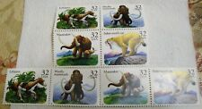 8 US Postal Stamps, Mastodon, Saber Tooth Cat, Eohippus, Mammoth - 32 cents