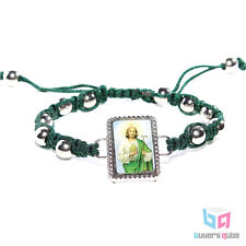 "Inspirational St. Jude Portrait Rosary Bracelet Green Cord 7.5"" Adjustable"