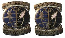 Asa Vigilant Always - Pair Hat Pins New! Hard To Find Rare! Army Security Agency