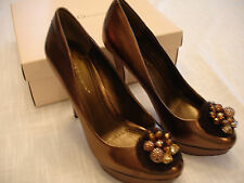 BCBGeneration Brass Metallic Solid Leather High Platform Heels Womens Sz 9.5 M