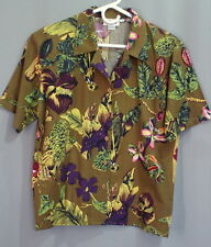 Theo womens shirt top size 6 S brown purple green cotton rayon