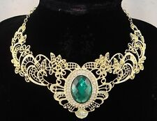 necklace 18k gold p emerald green bead crystal lace vintage victorian style FIOJ