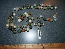 Vintage Olem Sterling Rosary Cross and Gem Beads
