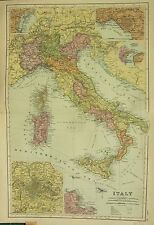 1912 LARGE ANTIQUE MAP ~ ITALY SICILY SARDINIA ~ INSET ENVIRONS ROME PALERMO