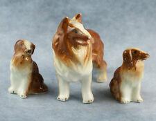 Vintage Set  3 Bone China Miniature Collie Dog Family Figurines Set Glossy Japan