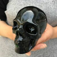 """4"""" natural Obsidian quartz Skull hand Carved Crystal Halloween gifts 1pc"""