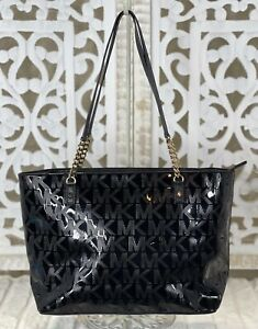 MICHAEL KORS Jet Set Black Patent Leather Tote Shoulder Handbag Shopper Purse