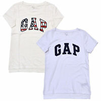 Gap Womens T-Shirt Short Sleeve Crew Neck Logo Graphic Tee Casual Split Hem New