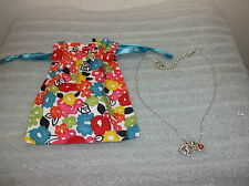Brighton SWEET HEARTS Silver, Red & Crystal Necklace +Fabric Pouch NWOT New