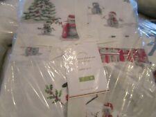 Pottery Barn Christmas Snowman Queen sheet set cotton percale  New