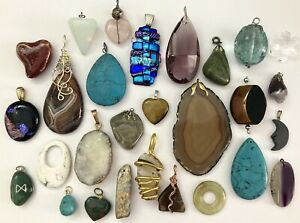 Necklace Pendant Lot ~ 28 pcs~ Stone Glass Gemstone Faux Stone Cystal Pendants
