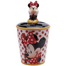 New DISNEY MINNIE MOUSE Figurine TOOTHBRUSH HOLDER Statue Figure POLKA DOTS RED