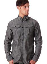 G Star RAW Collision L/S Shirt in Black Broken Chambray, Size L BNWT $150