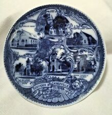 FLOW BLUE GAINESVILLE FLORIDA Souvenir Plate-Md In England for  Saunders Groc.