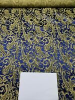 Fabric Silk Brocade Blue and color Gold Paisley Floral  -by half yard-