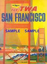 "TWA Jets Airline 8.5"" X 11""   Travel Poster [ SAN FRANCISCO ] -"