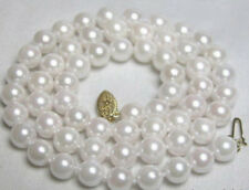 Genuine 8mm South Sea White Shell Pearl Round Beads Necklace 18''