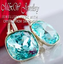 925 Silver Earrings Crystals From Swarovski® FANCY STONE 10mm - Llight Turquoise