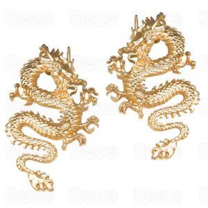 OVERSIZE LARGE DRAGON statement MATT GOLD EARRINGS large snake MIRRORED PAIR