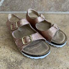 Cat & Jack Kids Toddler Girl Tisha Footbed Sandals Size 8 Rose Gold Glitter EUC!