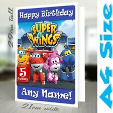 SUPER WINGS A4 Personalised Birthday Card | Daughter Son Nephew Grandson