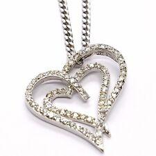 Halskette Silber 925, Kette Grumette, Anhänger Doppel Herz, Zirkonia