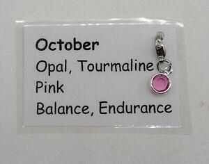 Swarovski Crystal Birthstone Channel Charm; October, Rose, Pink; 10x6mm