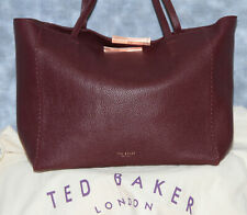 NEW TED BAKER BURGUNDY LEATHER TOTE WITH POUCH
