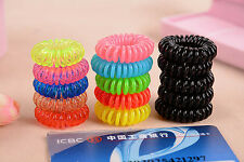 10PC Lady Women Elastic Phone Wire Band Tie Coiled Hair Bands Ponytail Random
