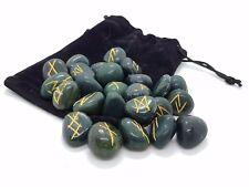 Rune Set Bloodstone Crystal Divination Includes Plush Pouch Elder Futhark Runes