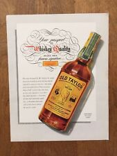 Vintage Old Taylor Whiskey Advertisement Old Taylor Distillery 1939 11x14