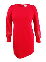 Calvin Klein Women's Embellished Puff-Sleeve Dress 12, Red
