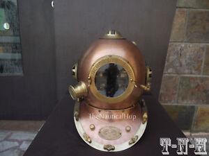Antique Diving Helmet U.S Navy Anchor Engineering Divers Helmet Deep Sea Replica