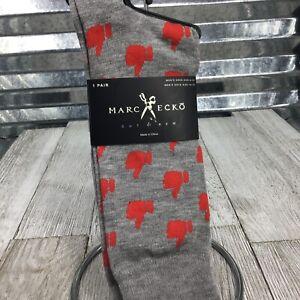 Marc Ecko Mens Dress Socks Grey Red Emoji Thumbs Up Geometric Sock Size 10-13