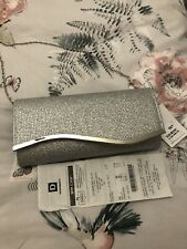 Silver Clutch Bag With Chain Strap New With Tags
