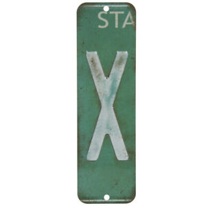 License Plate Letter X Metal Sign Home Decoration Wall Decor