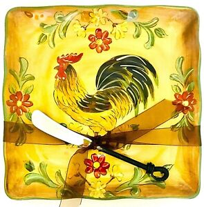 """Maxcera Honey Rooster 9"""" X 9"""" Hand Painted Ceramic Plate With Spread Love Knife"""