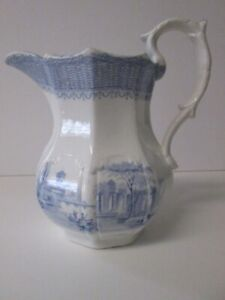 Antique Blue & White Transferware Ironstone Pitcher
