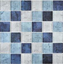 Crystal Glasmosaik blau Wand Küche Dusche Bad Fliesenspiegel 88-0044  10Matten