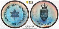 PL66 1967 Canada Silver Centennial Medal, PCGS Secure- Vivid Blue Rainbow Toned