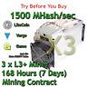 3 x Bitmain Antminer L3+ 1500 MHash/sec Guaranteed 7 Days Mining Contract Scrypt