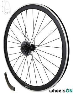 700c wheelsON Rear Wheel Road Racing Bike 40 mm Deep + 7 Speed Shimano Cassette