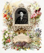 Hans Holbein Portrait -1880 verdetto di fiori ORIGINALE chromolithografie Shakespeare